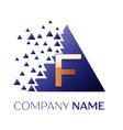 golden letter f logo symbol in blue pixel triangle vector image vector image