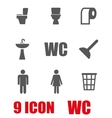 grey toilet icon set vector image vector image