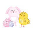 happy easter pink rabbit chicken eggs decoration vector image