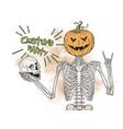 human skeleton with halloween pumpkin head vector image vector image