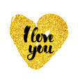 i love you gold card vector image vector image