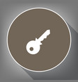 key sign white icon on brown vector image