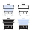 Kitchen electric steamer icons vector image vector image