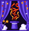 magician background with magic items illusionist vector image