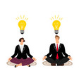 meditation concept with business people vector image vector image