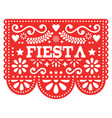 mexican fiesta papel picado design in red vector image vector image