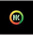 n k letter logo emblem design vector image vector image