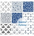 nautical seamless pattern navy anchor helm vector image vector image