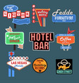 neon signboards billboards light boxes and road vector image vector image