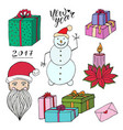 new year doodle set with santa gifts and snowman vector image