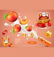 peach yogurt ads bottle explosion background vector image vector image