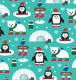 penguins and igloos vector image vector image
