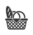 picnic basket and bread food and beverage set vector image vector image