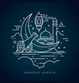 ramadan kareem islamic line art greeting card vector image