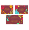 set with bright postards made in memphis style vector image vector image