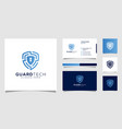 shield security logo design and business card vector image