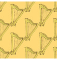 Sketch harp musical instrument in vintage style vector image