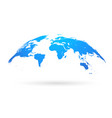spherical curved blue world map vector image vector image