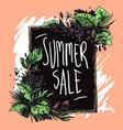 summer sale floral frame hand drawn vector image vector image
