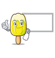 thumbs up with board lemon ice cream character vector image vector image