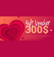 trad gift certificate with embossed heart vector image vector image