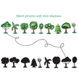 Trees and Silhoutte of trees - game for children vector image vector image