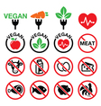 Vegan no meat vegetarian lactose free icons set vector image vector image