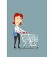 Happy businesswoman shopping with trolley cart vector image