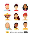 avatars flat icon people of various nationalities vector image