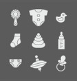 baby things icons set vector image