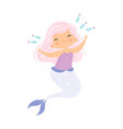 beautiful little mermaid with pink hair playing vector image vector image