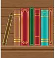 books on wooden shelf vector image vector image