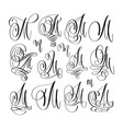 calligraphy lettering script font m set hand vector image vector image
