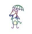 Cartoon mouse with umbrella vector image
