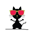 cat with sunglasses vector image vector image