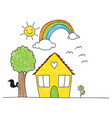 childrens drawing style house and surroundings vector image vector image
