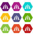 circus tent icon set color hexahedron vector image vector image