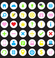 colorful web icon set on circle vector image vector image