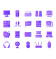 computer simple purple gradient icons set vector image vector image