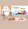 couple at home young girl and guy vector image