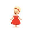 elegant blonde little girl posing in red dress vector image