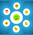 flat icon face set of frown caress wonder and vector image vector image