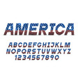 font with usa flag grange texture alphabet vector image