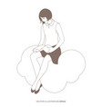 girl reading sitting on a cloud sky and the vector image