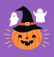 halloween greeting card with orange pumpkins vector image