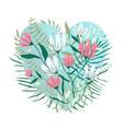 heart shape floral valentines design vector image vector image