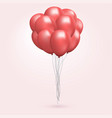 helium balloon bunch flying realistic glossy red vector image vector image