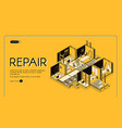 house repair company isometric website vector image vector image