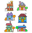house set colorful cartoon design vector image vector image