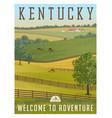 kentucky horse farm retro travel poster vector image vector image